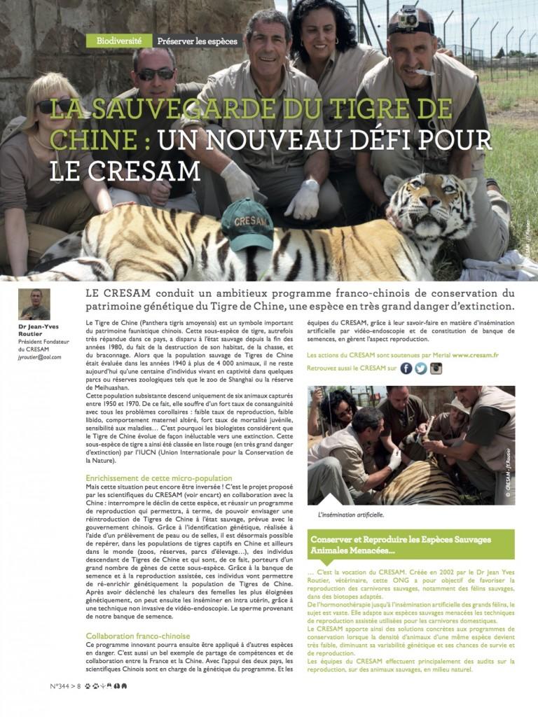 La sauvegarde du tigre de Chine ; un nouveau défi pour le Cream : article Veto Mecum